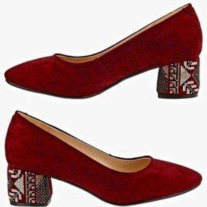 Azura Genuine Leather Tribal Print Suede Heels